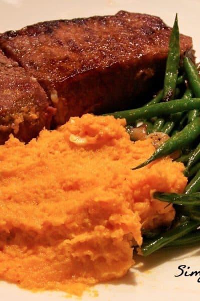 Steak, Sweet Potato Mash, Green Beans