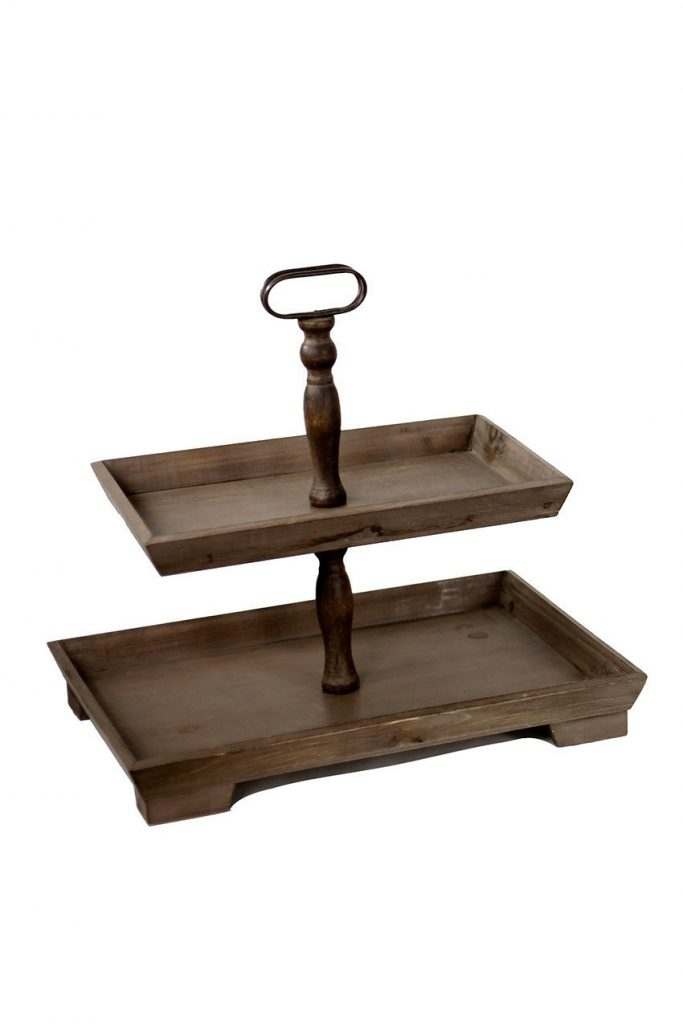 Suzette 2 Tier Wood Tray from Emory Valley Mercantile