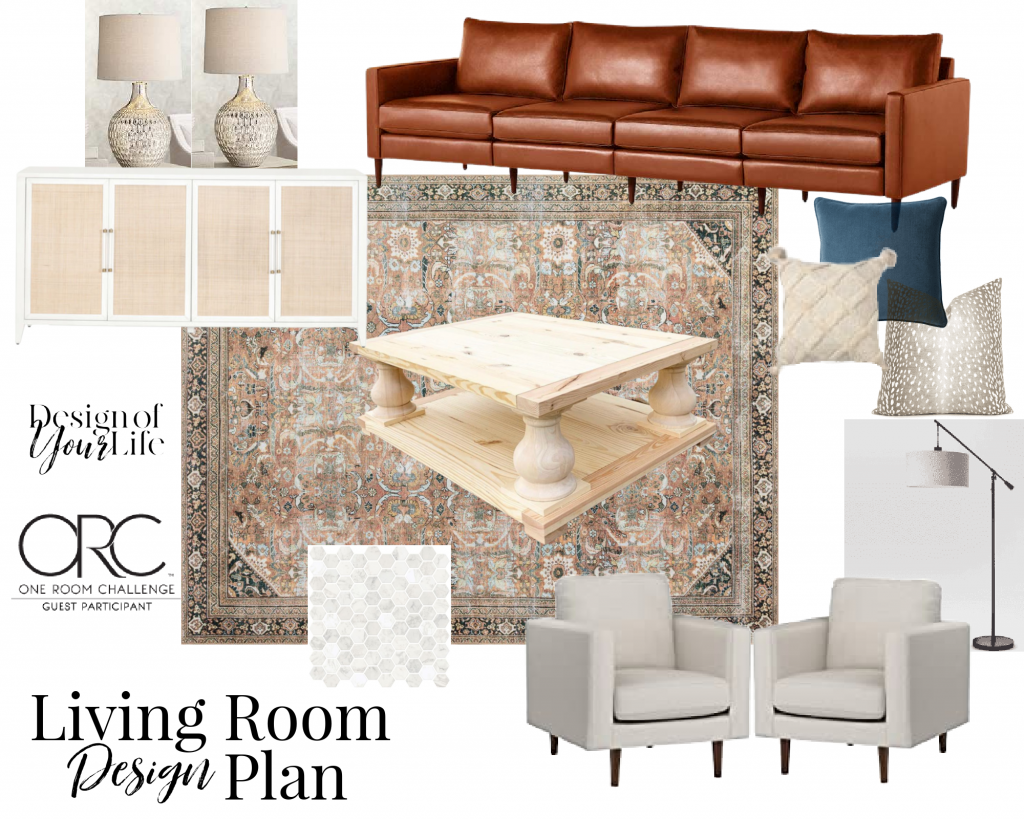 mood board with design plans for living room makeover