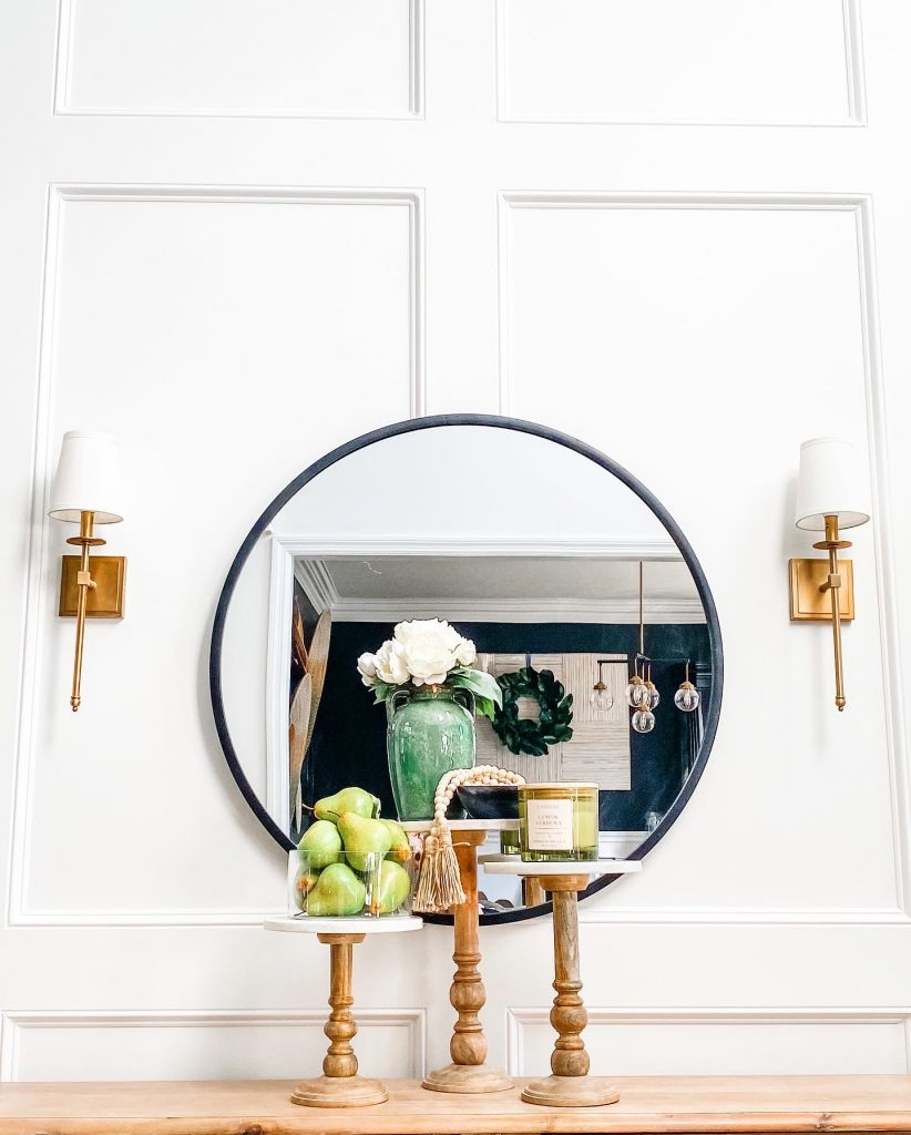 DIY wainscoting with a styled foyer table